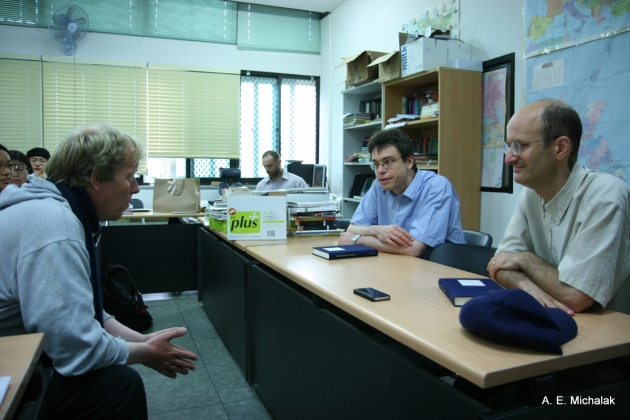Pastreich and Puett joined by Alexander Ganse at the Korean Minjok Leadership Academy for a discussion with students.