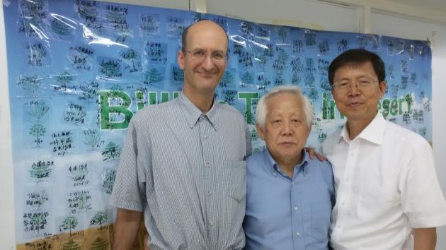 Emanuel with Kwon Byong Hyon (center; former Korean ambassador to China and Chairman of Future Forest) and  Kwak Sang Soo (senior researcher at Korea Research Institute for Bioscience and Biotechnology on August 8, 2014 at Future Forest offices in Seoul.