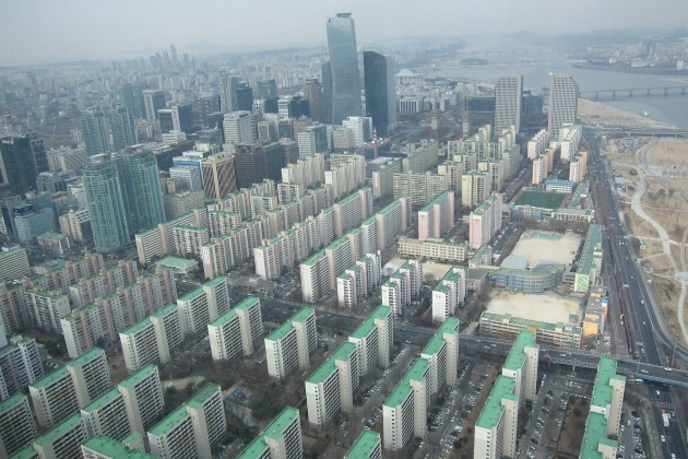 Apartment building complex in Seoul.