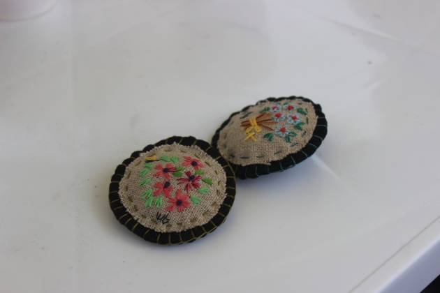The stitched buttons that Ms. Hong has made by hand to give vistors to Ansan.