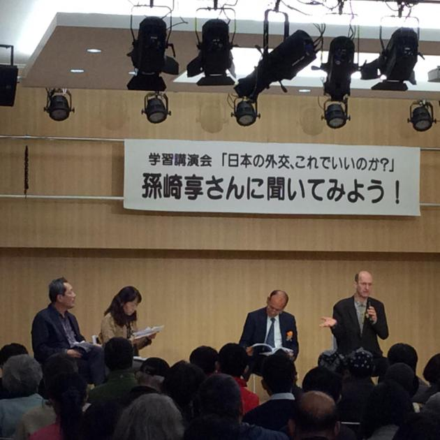 Talk in Osaka with Magosaki Ukeru about the threat of militarism in East Asia.